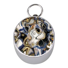 Time Abstract Dali Symbol Warp Mini Silver Compasses