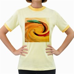 Spiral Abstract Colorful Edited Women s Fitted Ringer T Shirts