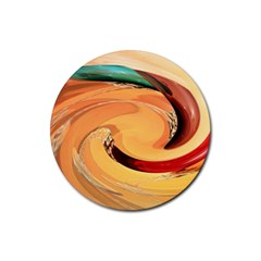 Spiral Abstract Colorful Edited Rubber Round Coaster (4 Pack)