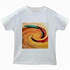 Spiral Abstract Colorful Edited Kids White T Shirts