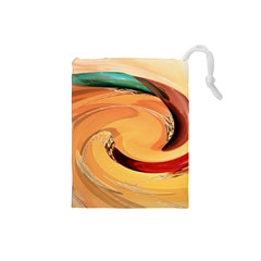 Spiral Abstract Colorful Edited Drawstring Pouches (small)