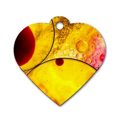 Abstract Water Oil Macro Dog Tag Heart (two Sides)