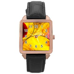 Abstract Water Oil Macro Rose Gold Leather Watch