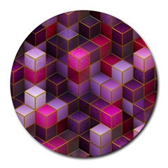 Cube Surface Texture Background Round Mousepads