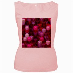 Cube Surface Texture Background Women s Pink Tank Top
