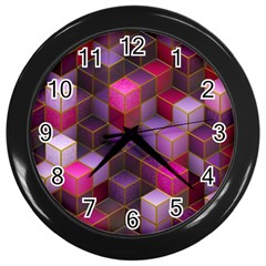 Cube Surface Texture Background Wall Clocks (black)
