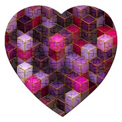 Cube Surface Texture Background Jigsaw Puzzle (heart)
