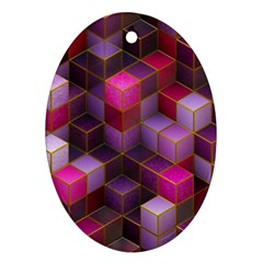 Cube Surface Texture Background Oval Ornament (two Sides)