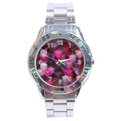 Cube Surface Texture Background Stainless Steel Analogue Watch