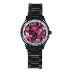Cube Surface Texture Background Stainless Steel Round Watch