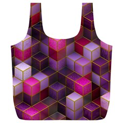 Cube Surface Texture Background Full Print Recycle Bags (l)