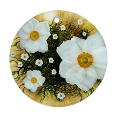 Summer Anemone Sylvestris Round Ornament (two Sides) by Nexatart