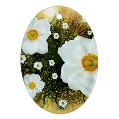Summer Anemone Sylvestris Oval Ornament (two Sides)