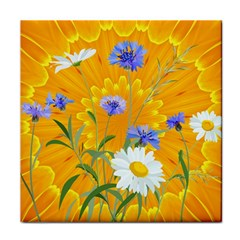 Flowers Daisy Floral Yellow Blue Tile Coasters