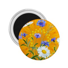 Flowers Daisy Floral Yellow Blue 2 25  Magnets