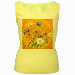 Flowers Daisy Floral Yellow Blue Women s Yellow Tank Top