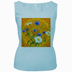Flowers Daisy Floral Yellow Blue Women s Baby Blue Tank Top