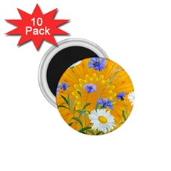 Flowers Daisy Floral Yellow Blue 1 75  Magnets (10 Pack)