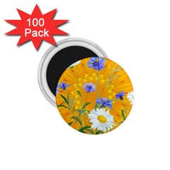 Flowers Daisy Floral Yellow Blue 1 75  Magnets (100 Pack)