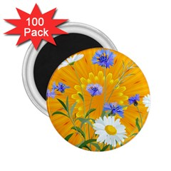 Flowers Daisy Floral Yellow Blue 2 25  Magnets (100 Pack)  by Nexatart