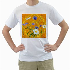 Flowers Daisy Floral Yellow Blue Men s T Shirt (white) (two Sided)