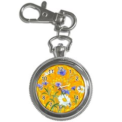 Flowers Daisy Floral Yellow Blue Key Chain Watches