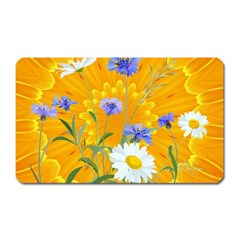 Flowers Daisy Floral Yellow Blue Magnet (rectangular)