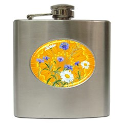 Flowers Daisy Floral Yellow Blue Hip Flask (6 Oz)