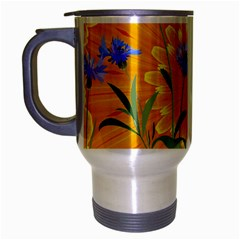 Flowers Daisy Floral Yellow Blue Travel Mug (silver Gray)
