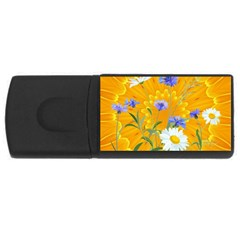 Flowers Daisy Floral Yellow Blue Rectangular Usb Flash Drive