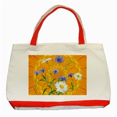 Flowers Daisy Floral Yellow Blue Classic Tote Bag (red)