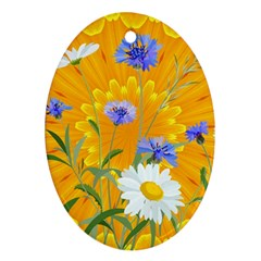 Flowers Daisy Floral Yellow Blue Oval Ornament (two Sides)