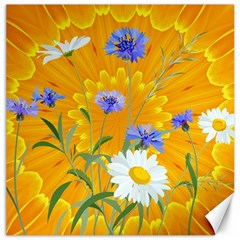 Flowers Daisy Floral Yellow Blue Canvas 12  X 12