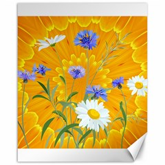 Flowers Daisy Floral Yellow Blue Canvas 16  X 20