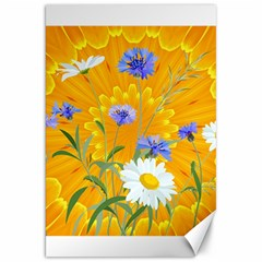 Flowers Daisy Floral Yellow Blue Canvas 20  X 30