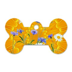 Flowers Daisy Floral Yellow Blue Dog Tag Bone (one Side) by Nexatart
