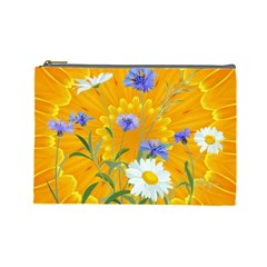 Flowers Daisy Floral Yellow Blue Cosmetic Bag (large)
