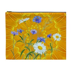 Flowers Daisy Floral Yellow Blue Cosmetic Bag (xl)