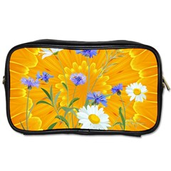 Flowers Daisy Floral Yellow Blue Toiletries Bags