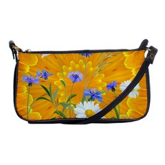 Flowers Daisy Floral Yellow Blue Shoulder Clutch Bags
