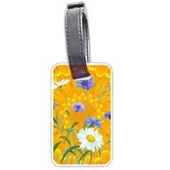 Flowers Daisy Floral Yellow Blue Luggage Tags (two Sides)