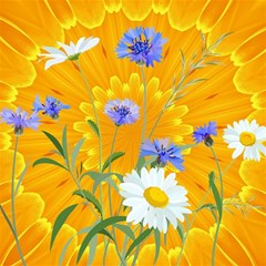 Flowers Daisy Floral Yellow Blue Magic Photo Cubes