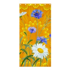 Flowers Daisy Floral Yellow Blue Shower Curtain 36  X 72  (stall)