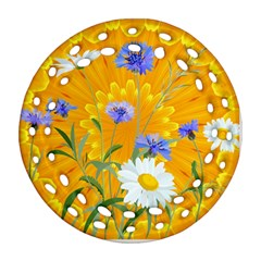 Flowers Daisy Floral Yellow Blue Ornament (round Filigree)