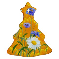 Flowers Daisy Floral Yellow Blue Christmas Tree Ornament (two Sides)
