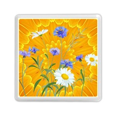 Flowers Daisy Floral Yellow Blue Memory Card Reader (square)  by Nexatart