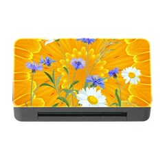 Flowers Daisy Floral Yellow Blue Memory Card Reader With Cf