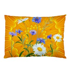 Flowers Daisy Floral Yellow Blue Pillow Case (two Sides) by Nexatart