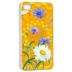 Flowers Daisy Floral Yellow Blue Apple Iphone 4/4s Seamless Case (white)