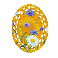 Flowers Daisy Floral Yellow Blue Oval Filigree Ornament (two Sides)